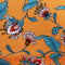 Turquoise and Orange Floral Printed Crepe Polyester - Rex Fabrics