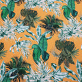 Orange and Green Leaves Printed Crepe Polyester - Rex Fabrics