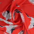 Red and White Birds Crepe Printed Polyester - Rex Fabrics