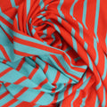 Orange and Turquoise Stripes Crepe Printed Polyester - Rex Fabrics