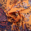 Orange with Paisleys Abstract Printed Crepe Polyester - Rex Fabrics