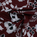 Wine and White Floral Printed Silk - Rex Fabrics