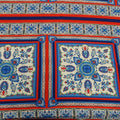 Blue and Red Arabesque Printed Fabric