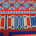 Red, Blue and Nude Arabesque Printed Fabric - Rex Fabrics