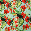 Mint Background with Multicolored Floral and Birdie Printed Fabric - Rex Fabrics