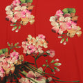 Red Background with Multicolored Floral Printed Fabric - Rex Fabrics
