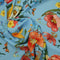 Sky Blue Background with Multicolored Floral Printed Fabric - Rex Fabrics
