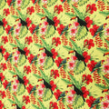 Lime Yellow Background with Multicolored  Leaves and Birdie Printed Fabric - Rex Fabrics