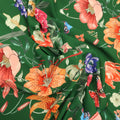 Green Background with Multicolored Floral Printed Fabric - Rex Fabrics
