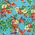 Sky Blue Background with Multicolored Floral and Birdie Printed Fabric - Rex Fabrics