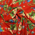 Red Background with Multicolored Leaves and Birdie Printed Fabric - Rex Fabrics