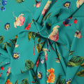 Turquoise Background with Multicolored Floral Printed Fabric - Rex Fabrics