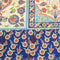 Blue Background with Multicolored Floral Printed Fabric