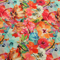 Red Aqua Floral Printed Polyester Fabric - Rex Fabrics