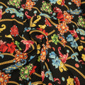 Black Background with Multicolored Floral Printed Fabric - Rex Fabrics