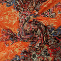 Red, Blue, Orange Abstract Printed Fabric - Rex Fabrics