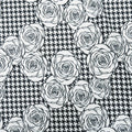 Black and White Floral on Houndstooth Printed Polyester Crepe - Rex Fabrics