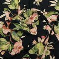 Black Background with Pink  Floral Printed Fabric - Rex Fabrics