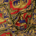 Blue, Red and Gold Abstract Printed Fabric - Rex Fabrics