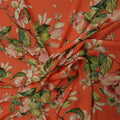 Coral Background with Pink and Green Floral Printed Fabric - Rex Fabrics