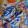 White and Blue Abstract Polyester Print Fabric - Rex Fabrics