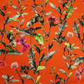 Orange Background with Multicolored Floral Printed Fabric