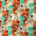 Nude Background with Orange and Turquoise Floral Printed Fabric - Rex Fabrics