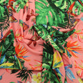 Pink Background with Multicolored Leaves Printed Fabric - Rex Fabrics