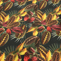 Black Background with Yellow, Red and Green Leaves Printed Fabric