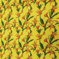 Yellow Background with Orange and Green Floral Printed Fabric - Rex Fabrics