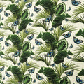 Ivory Background with Green Leaves and Blue Butterflies Printed Fabric - Rex Fabrics