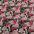 Black Background with Pink and Fuschia Floral Printed Fabric