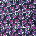 Black  Background with Purple and White Floral Printed Fabric - Rex Fabrics