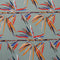 Gray Background with Orange, Blue and Red Leaves Printed Fabric - Rex Fabrics