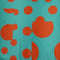 Orange Circles on Turquoise Printed Polyester - Rex Fabrics