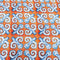 Orange Background with Blue and White Arabesque Printed Fabric - Rex Fabrics