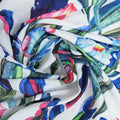 White Background with Blue and Green Floral Printed Fabric - Rex Fabrics