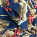 Grape Leaves on Navy Printed Polyester - Rex Fabrics