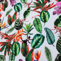 Green Leaves with Monkeys on White Printed Polyester Crepe - Rex Fabrics