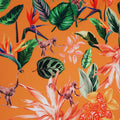 Green Leaves with Monkeys on Orange Printed Polyester Crepe - Rex Fabrics
