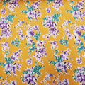 Purple-Blue Floral on Yellow Printed Crepe Fabric - Rex Fabrics