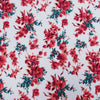 Red Floral on White Printed Crepe Fabric