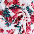 Red Floral on White Printed Crepe Fabric - Rex Fabrics
