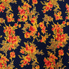 Orange Floral on Navy Printed Crepe Fabric - Rex Fabrics