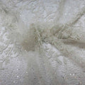 Off White Floral Embroidered with Bugle Beads and Sequins Tulle Fabric - Rex Fabrics