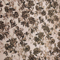 Beige And Black Floral Textured Brocade Fabric - Rex Fabrics