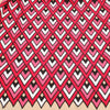 Red and Pink Geometric Printed Guipure Lace