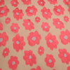 Coral Pink Floral Textured And Beige Embroidered Organza Fabric