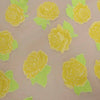Yellow And Beige Floral Textured Embroidered Organza Fabric