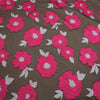 Pink And Brown Floral Textured Embroidered Organza Fabric